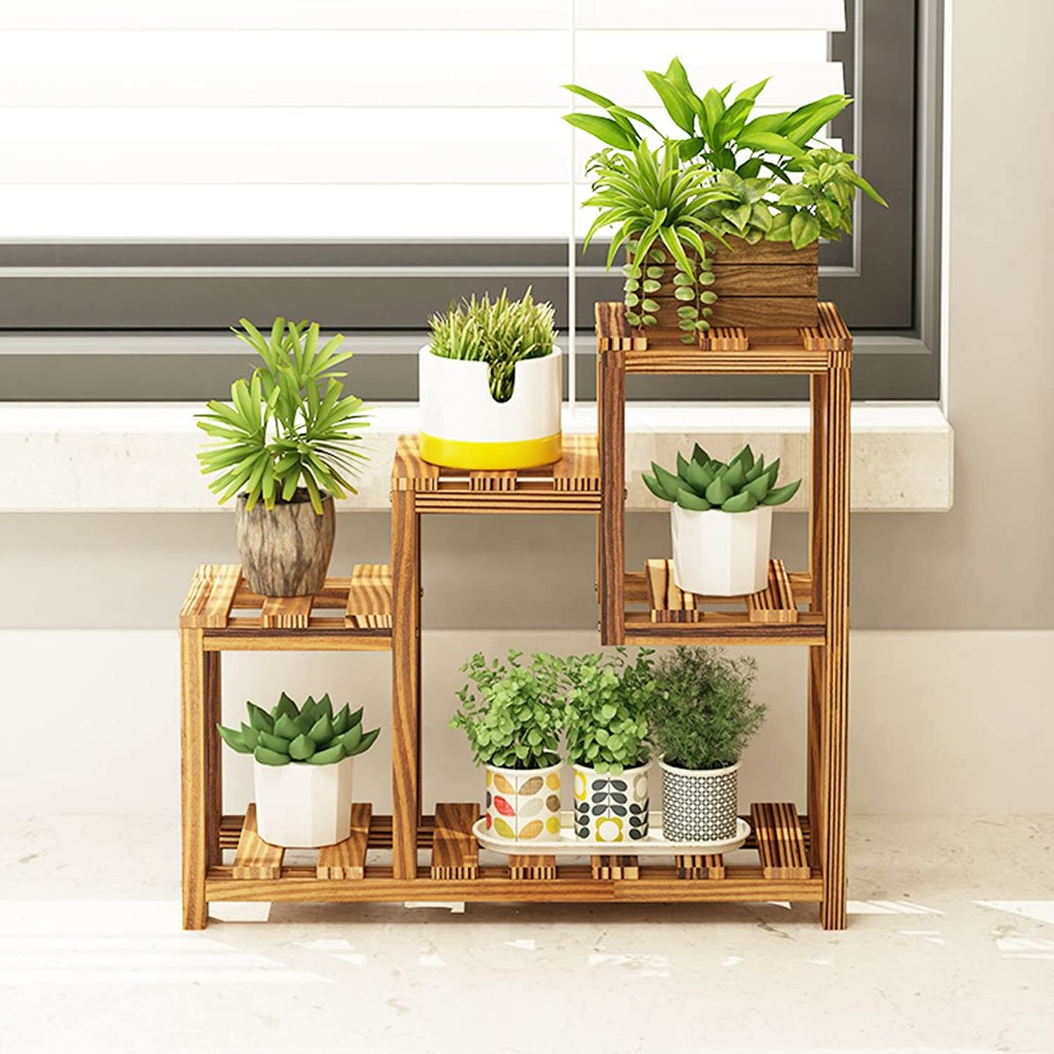 JKL-Flower Stand Creative Solid Wood Window Sill Fleshy Flower Stand Mini Bedroom Table Flower Table Top Shelf Storage Small Flower Stand