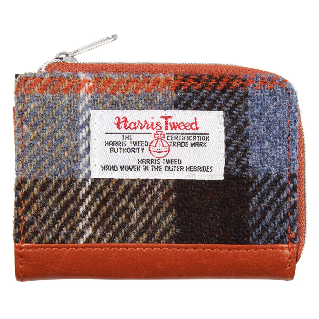 Ladies Authentic Harris Tweed And Leather Large Purse Charcoal Check COL 48