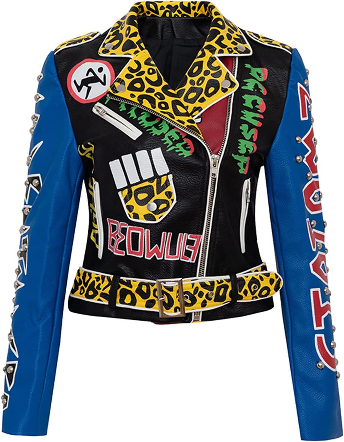 YHNY Women's Faux Leather Jacket Lapel Collar Motorcycle Short Coat Long Sleeve Zipper Biker Slim Clothing Blue-XL