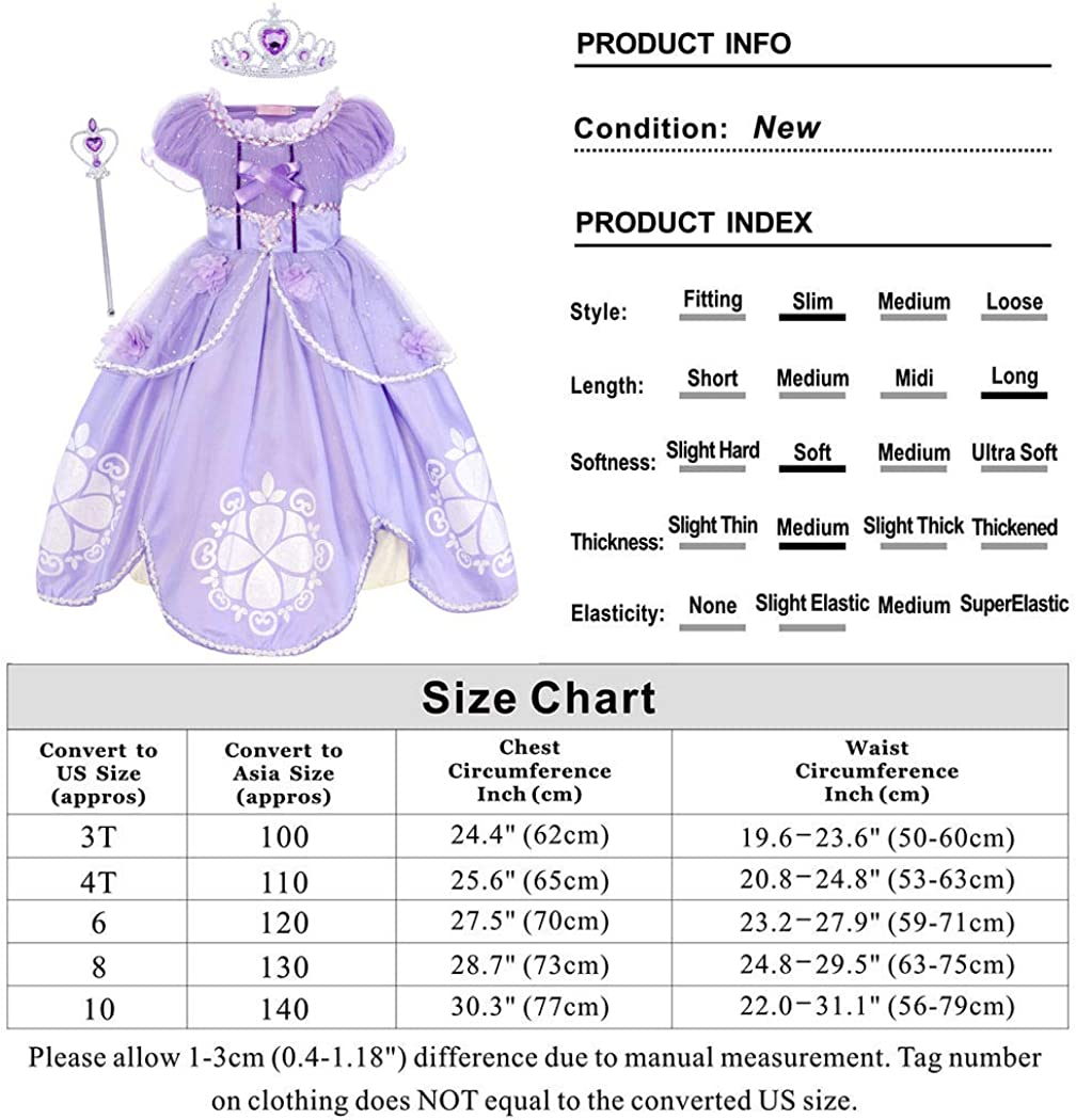 WonderBabe Little Girls Princess Dress Up Halloween Cosplay Costume Girls Dress Fancy Birthday Party Outfit