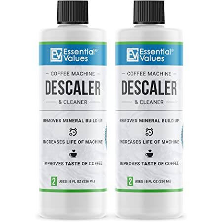 2-Pack Descaling Solution (4 Total Uses), Made in USA - Coffee Descaler for Keurig, Nespresso, Delonghi and All Single-Use Coffee Pot and Espresso Machines