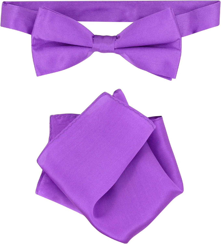 Biagio 100% Silk BowTie Solid Purple Indigo Color Mens Bow Tie & Handkerchief