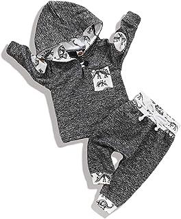 Qiraoxy Ensemble de 2 pièces à capuche à manches longues pour bébé - Imprimé dinosaure - Gris