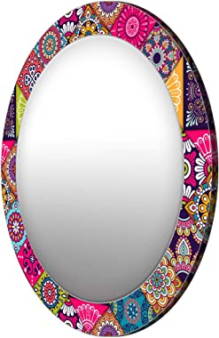 999Store Printed Colorful Floral Pattern Round Mirror (MDF_17X17 Inch_Multi)