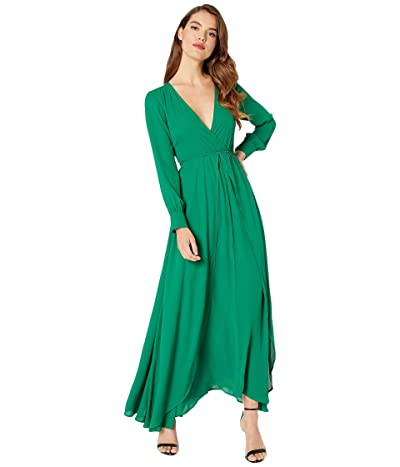 Unique Vintage Long Sleeve Farrah Maxi Dress (Green) Women