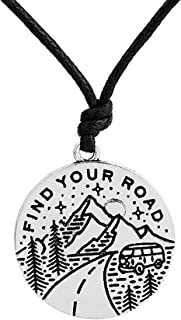 Dawapara Adventure Hiking Find Your Road Star Mountain Outdoor Scenery Necklace Spiritual Jewelry for Men/Women