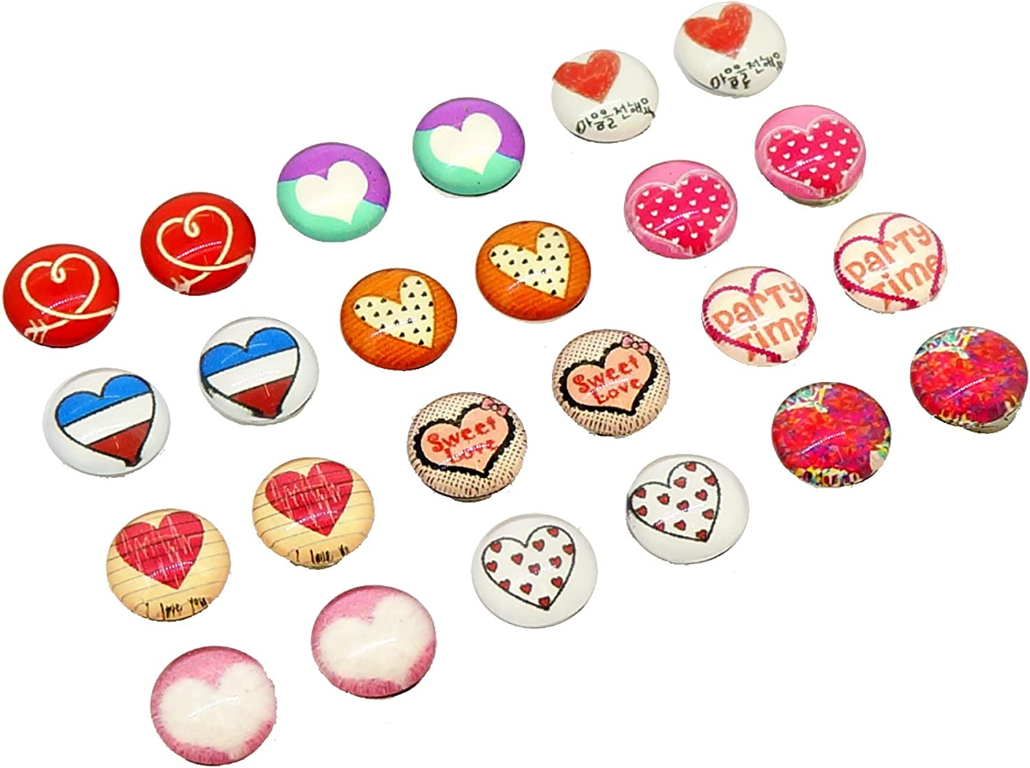 Glass Dome Lovely Heart Pattern Magnetic Clip-on Earrings, Mix of 12 Styles for non piercing ear, Pack of 12 Pairs