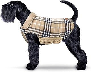 IREENUO Dog Jacket, Reversible Warm Dog Tartan Coat for Fall Winter, British Style Puppy Padded Jacket for Small Medium Do...