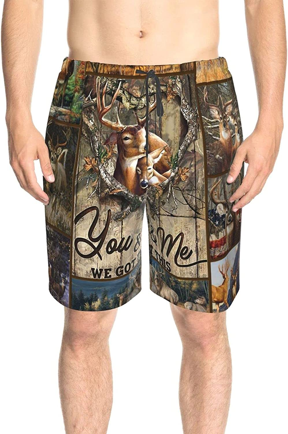JINJUELS Mens Swim Trunks Hunting Deer We Got This Bathing Suit Boardshorts Quick Dry Cool Swimming Trunks with Pockets