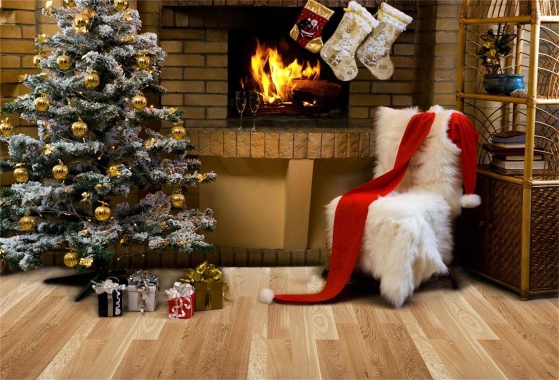 10x6.5ft Christmas Tree Photography Backdrops Stone Fireplace Photo Background Xmas Microfiber Soft Fabric Backdrop for Photoshoot