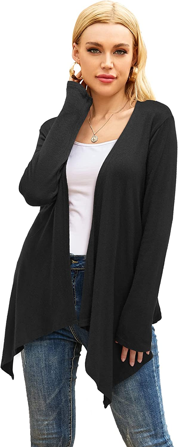 OUGES Womens Long Sleeve Casual Open Front Draped High Low Knit Cardigan