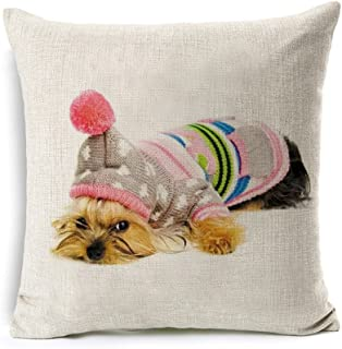 All Smiles Yorkie Dog Decor Throw Pillows Cover Case Decorative Outdoor Cushion 18x18 for Sofa Couch