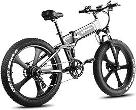 W Wallke Folding Aluminum Electric Bike 48V 10.4ah Removable Battery Fat Tire Snow Mountain Bike 750W Beach Cruiser Adult Assisted E-Bike Double Disc Hydraulic Brake(26 inch)