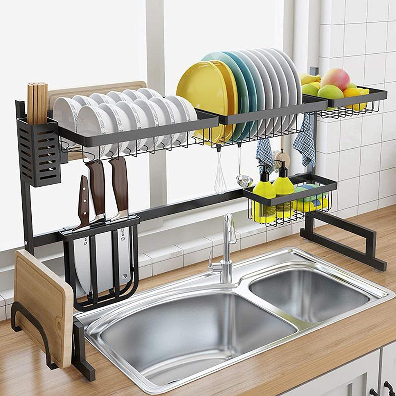 MTDHKX Dish Drying Bargain Rack - Fully Black 2-Tier Ove New item Customizable