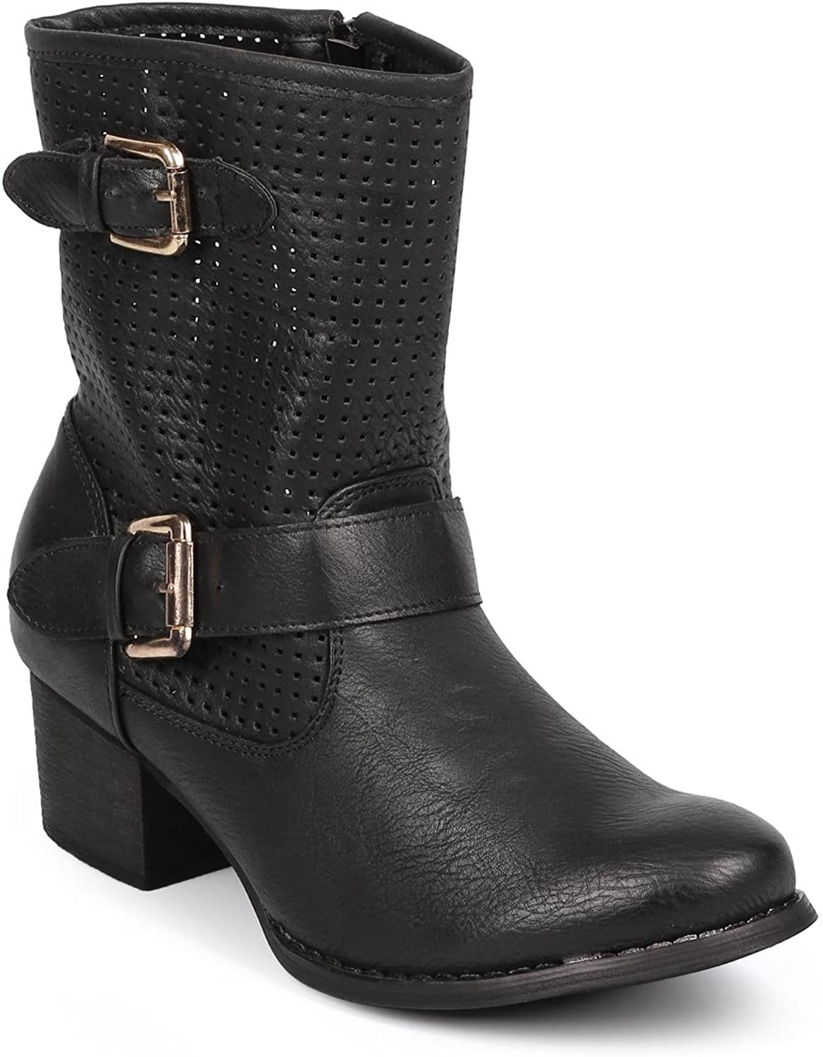 Liliana Women Leatherette Perforated Round Toe Buckle Strap Riding Boot DB59 - Black