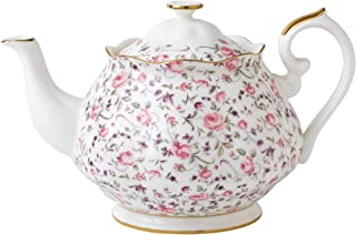 Royal Albert Rose Confetti Teapot, 42.3oz, Mostly White with Multicolored Floral Print