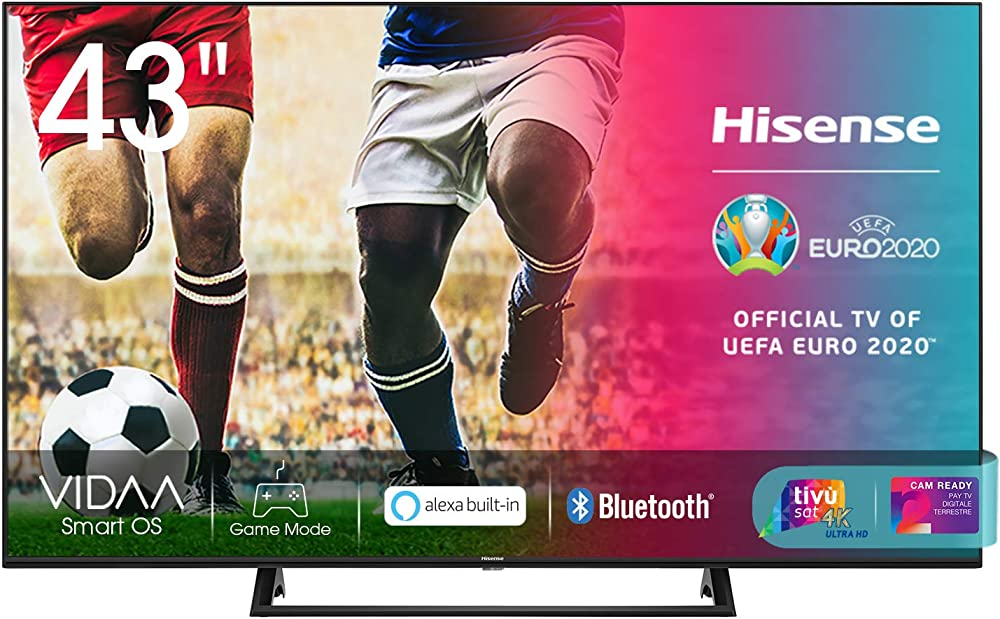 Hisense,  smart tv led ultra hd 4k, 43 pollici, hdr 10+, dolby dts, con alexa integrata, tuner dvb-t2/s2 43AE7210F