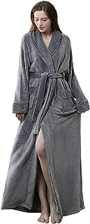 Womens Long Fleece Robes Luxurious Plush Bathrobe Full Length Pajamas Sleepwear