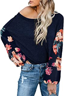 Womens Long Sleeve Shirts Casual Patchwork Boho Floral Print Loose Tops and Blouses