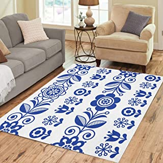 Semtomn Area Rug 5' X 7' Folk Pattern Flowers Navy Blue Floral Repetitive Scandinavian Retro Home Decor Collection Floor Rugs Carpet for Living Room Bedroom Dining Room