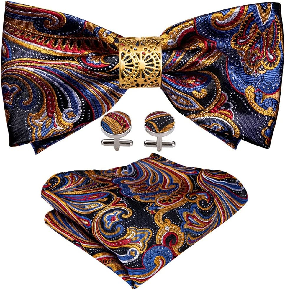 LQGSYT Gold Silk Pre-Bow Tie for Men Wedding Accessorie Adjustable Butterfly Handky Removable Gold Ring Set (Color : Gold, Size : One Size)