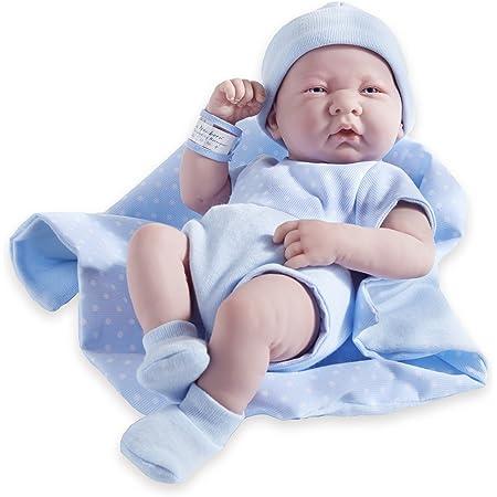 JC TOYS - MOD. 102-18540–Bambolotto Neonato, con Corpo in Gomma ed Abito Blu a Pois, Lunghezza: 36cm