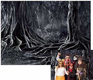 Funnytree 7x5FT Scary Dark Forest Backdrop Spooky Halloween Party Banner Twisted Root Creepy Trees Hallowmas Eve Wizard Va...