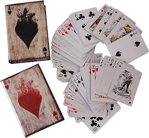 Aubaho 2X voituretes de Poker Cas de Jeu de voituretes Boîte Joker Style Antique Livre factice