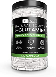 100% Pure L-Glutamine, 730 Capsules, 1-Year Supply, No Magnesium or Rice Fillers, Non-GMO, Gluten-Free, Made in USA, Natur...