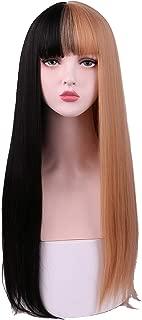 SinRain Half Black Half Brown fashion Wig For Women Girls (Black/Light Brown)