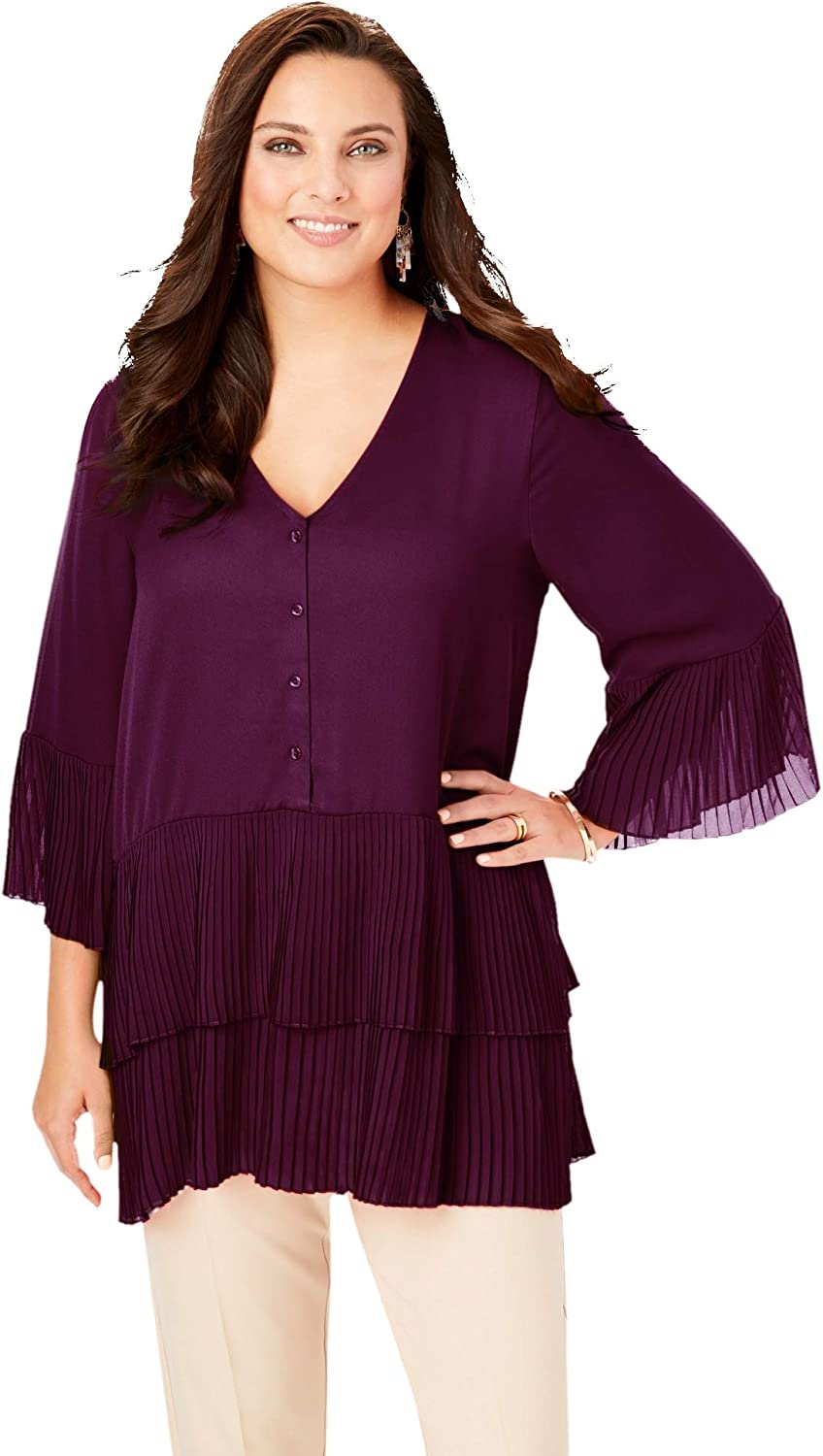 Roaman's At the price Women's Plus Size Tiered Blouse Tunic Long Shirt Popular shop is the lowest price challenge