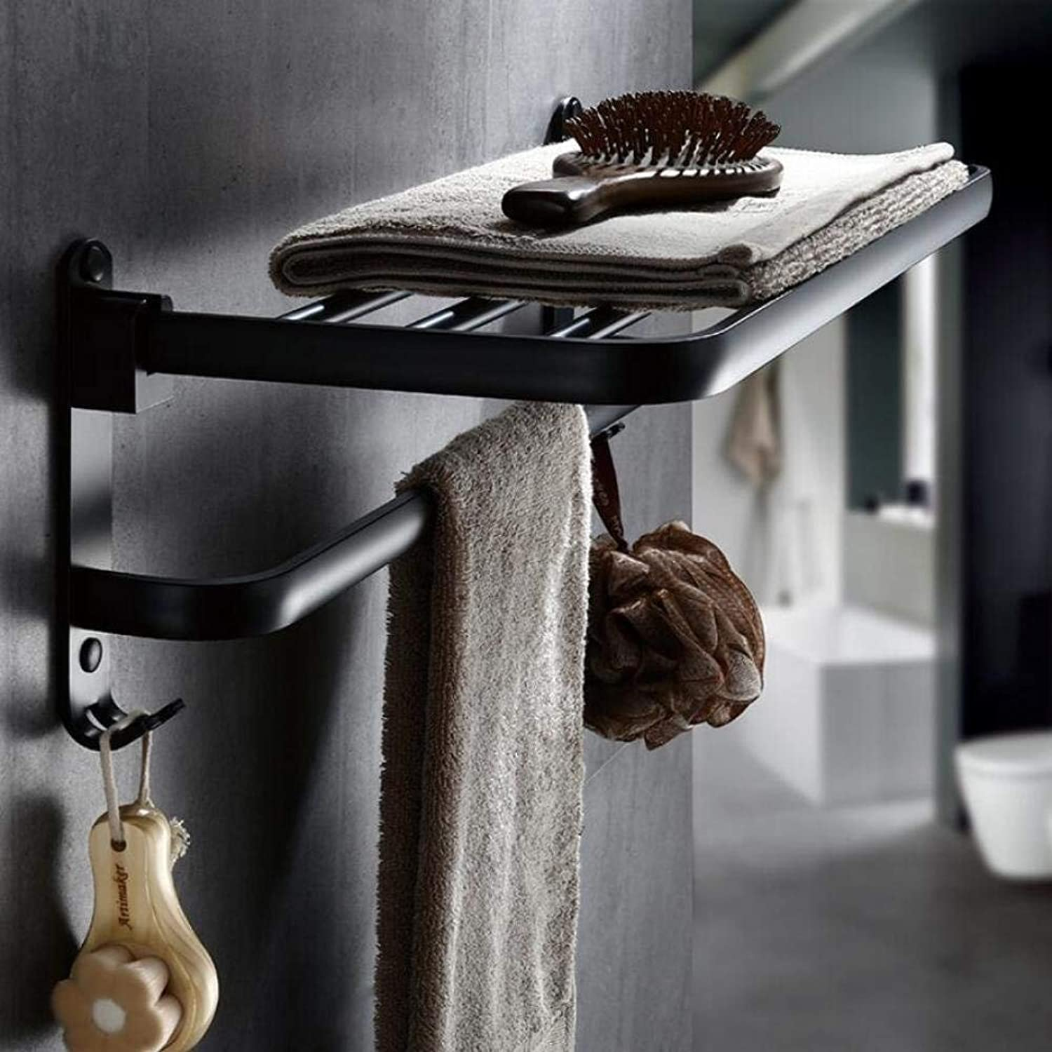 Dry-Towels Shelves in Aluminum The Wall Space, Bathroom Shelves - Double Black Layer