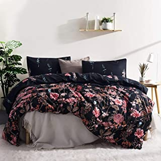 Leadtimes Boho Duvet Cover Set King Size Floral Black Lightweight Bedding Sets with Soft Microfiber 1 Duvet Cover and 2 Pillow Shams (King, Style8)