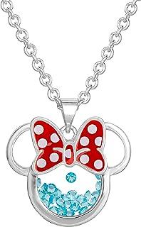 """گردنبند آویز شیکر اندود نقره ای زنانه و دخترانه جواهرات زنانه و دخترانه دیزنی Birthstone ، 18 2 """""""