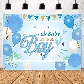 """MEHOFOND Fotohintergrund für Babyparty, Party Dekoration, mit Aufschrift """"It's a Boy"""", blau weißer Ballon, grünes Blumenmuster, für Neugeborene, Kuchen, Studio, Requisiten, Vinyl, 2,1 x 1,5 m"""