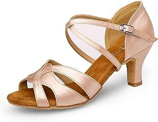 EAKLVB Ballroom Dance Shoes Women, Latin Salsa Bachata Practice Performance Dance Shoes