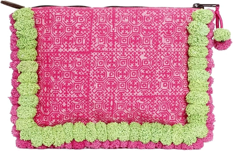 f73b3f59bf Ethnic Lanna Pink Batik Clutch Tablet Sleeve with Handmade Green Pom Poms