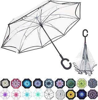 WASING Double Layer Inverted Umbrella Cars Reverse Umbrella, Windproof UV Protection Big Straight Umbrella for