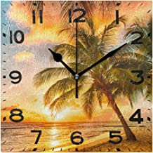 Naanle 3D Fashion Printed 8 Inch Square Wall Clock, Battery Operated Quartz Analog Quiet Desk Clock for Home,Office,School 8in Multi g19683469p240c275s440