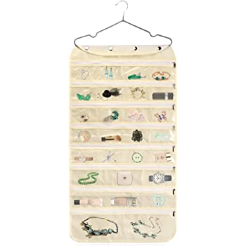 Alezywels Hanging Jewelry Organizer Bag (56-Pockets) Dual-Sided, Thick Oxford Fabric, Zippered Storage, Clear PVC Plastic Windows, Roll-Up, Portable Travel, Rings, Earrings, Necklaces (Beige)