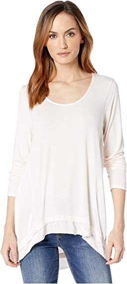 Rayon Spandex Slub Jersey Long Sleeve Scoop Neck Tee with Satin Panels
