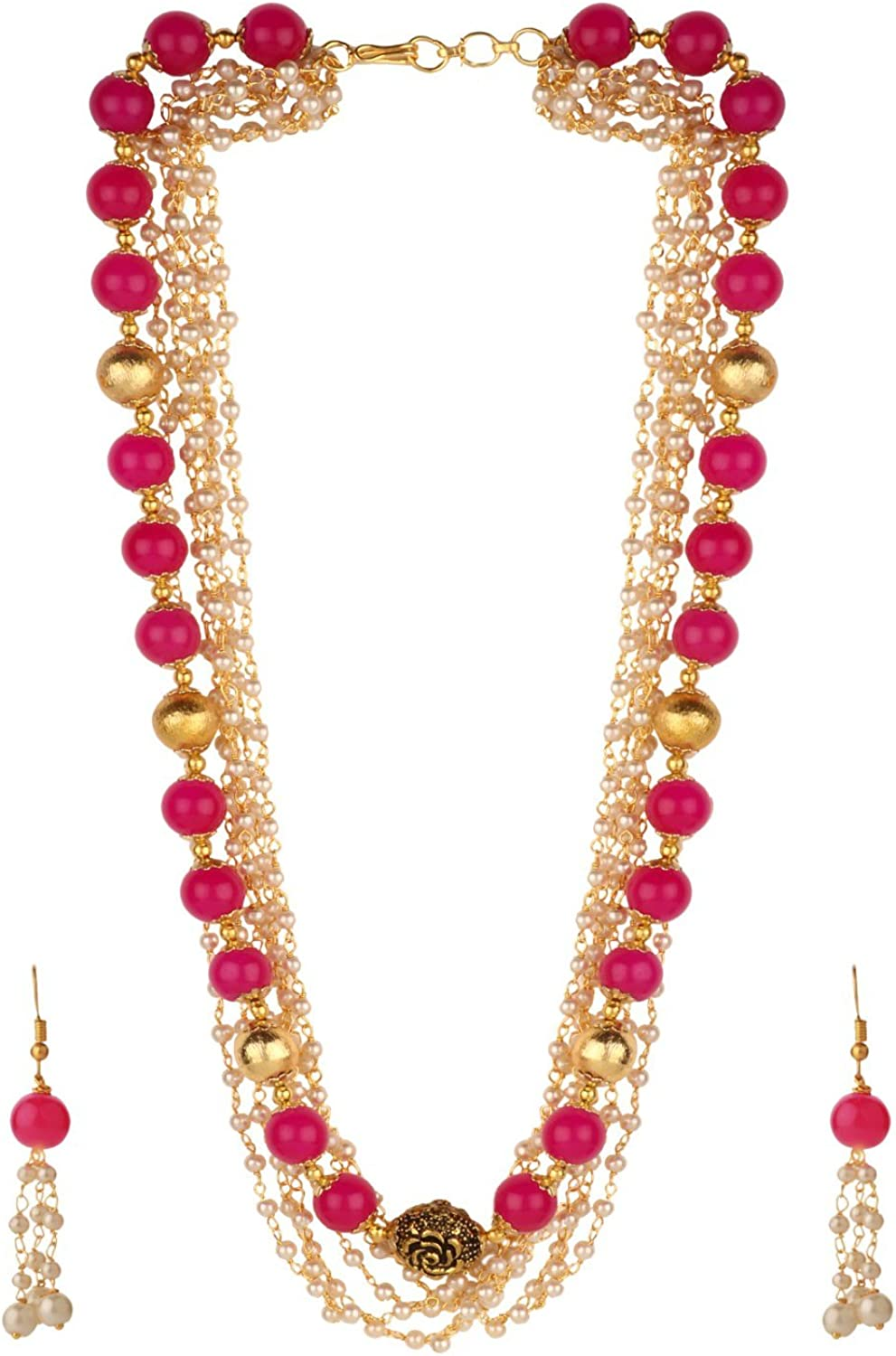 Efulgenz Indian 14 K Gold Plated Layered Multicolor Faux Ruby Emerald Pearl Beads Strand Neckalce Earrings Set Fashion Costume Jewelry