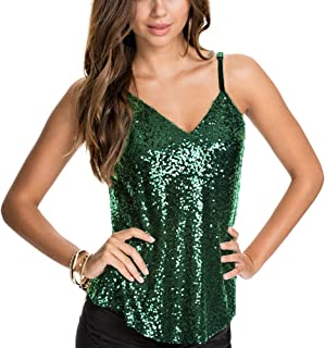 ASMAX HaoDuoYi Women's Sparkly Sequin V Neck Spaghetti Strap Sweet Party Top Shirt