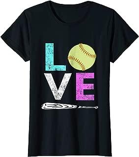 Girls Love Softball Best Fun Birthday Gift TShirt