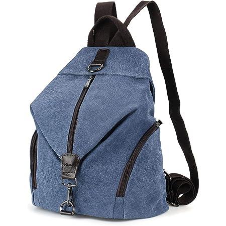 JOSEKO Frauen Leinwand Rucksack, Canvas Tasche Rucksäcke Damen Umhängentasche Große Kapazität Reisetasche Vintage Schultasche für Reise Outdoor Schule (Dunkelblau)