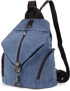 JOSEKO Frauen Leinwand Rucksack, Canvas Tasche Rucksäcke Damen Umhängentasche Große Kapazität Reisetasche Vintage Schultasche für Reise Outdoor Schule Dunkelblau