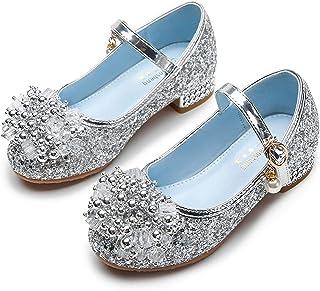 New front Fille Bloc Boucle Chaussures de Princesse Elsa Reines des Neiges Noël Halloween Carnaval Sandales à Talon Haute ...