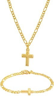 EDFORCE 20 inch WOMENS MENS Stainless Steel Figaro Link Chain Necklace Cross Pendant w/ Matching Figaro Link Bracelet Highly Polished Jewelry w/ Plain Classic Cross