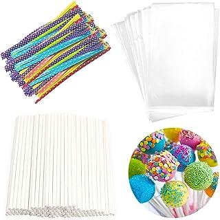 Lollipop Cake Pop Treat Bag Set Including 100pcs Parcel Bags, 100pcs Papery Treat Sticks, 100pcs Colorful Metallic Twist T...