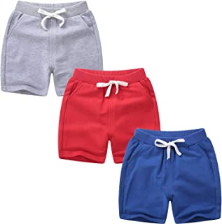 Girls Boys 3 Pack Running Athletic Cotton Shorts, Kids Baby Workout and Fashion Dolphin Summer Beach Sports